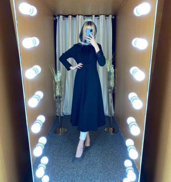 مانتو سال مد مدل کت بلند استین پولکی